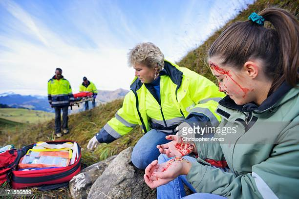 Paramedics Care for Injured Young Woman