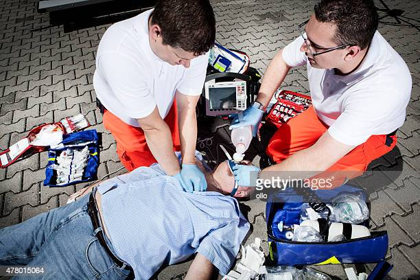 Paramedics CPR medical equipment emergency first aid