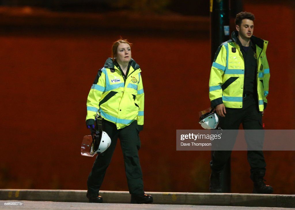 MANCHESTER, ENGLAND - Paramedics working at Victoria Railway Station, close to the Manchester Arena on May 23, 2017 in Manchester, England. There have been reports of explosions at Manchester Arena where Ariana Grande had performed this evening. Greater Manchester Police have have confirmed there are fatalities and warned people to stay away from the area.