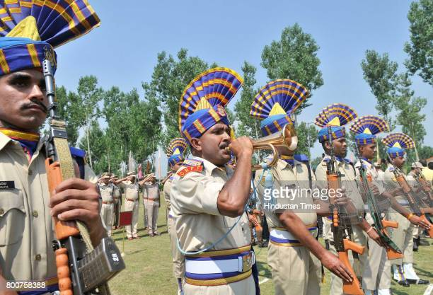 Paramilitary Central Reserve Police Force soldiers pay tribute to slain paramilitary Central Reserve Police Force SubInspector Sahab Shukla during...