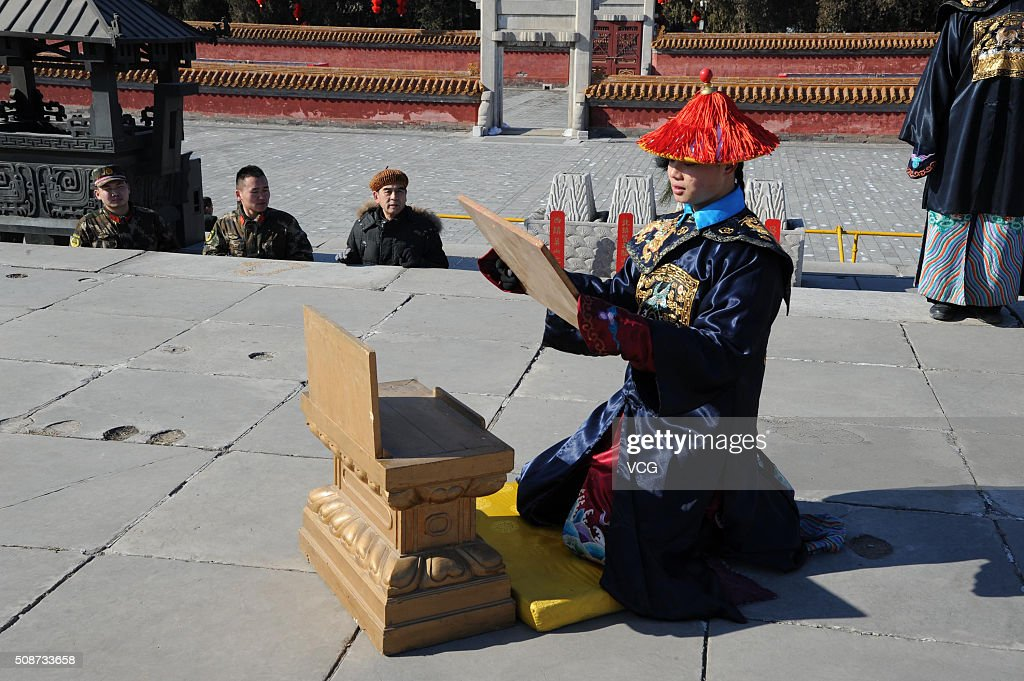 A paramilitary policeman dressed as imperial guard takes part in a rehearsal of a sacrifice ceremony for the upcoming Lunar New Year of the Monkey at the Altar of the Earth in Ditan park in on February 6, 2016 in Beijing, China. The ceremony is a re-enactment of sacrifices once made by China's emperors to worship the God of the Earth to pray for good harvests and fortune in the new year, and will be stage on February 8 to mark the beginning of the Lunar New Year.