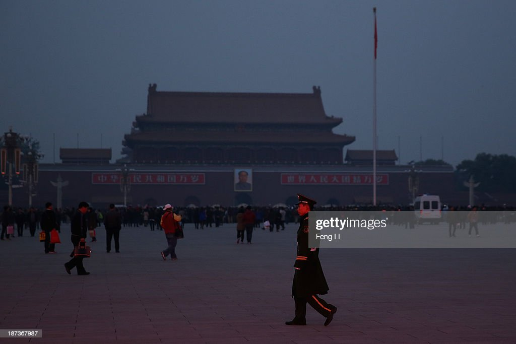 A paramilitary policeman patrols at Tiananmen Square on November 8, 2013 in Beijing, China. The Communist Party of China (CPC) will convene the Third Plenary Session of the 18th CPC Central Committee from November 9 to 12 to discuss comprehensively deepening reforms.