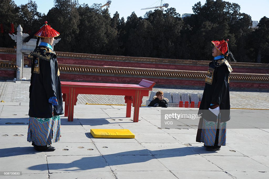 Paramilitary policemen dressed as imperial guards take part in a rehearsal of a sacrifice ceremony for the upcoming Lunar New Year of the Monkey at the Altar of the Earth in Ditan park in on February 6, 2016 in Beijing, China. The ceremony is a re-enactment of sacrifices once made by China's emperors to worship the God of the Earth to pray for good harvests and fortune in the new year, and will be stage on February 8 to mark the beginning of the Lunar New Year.