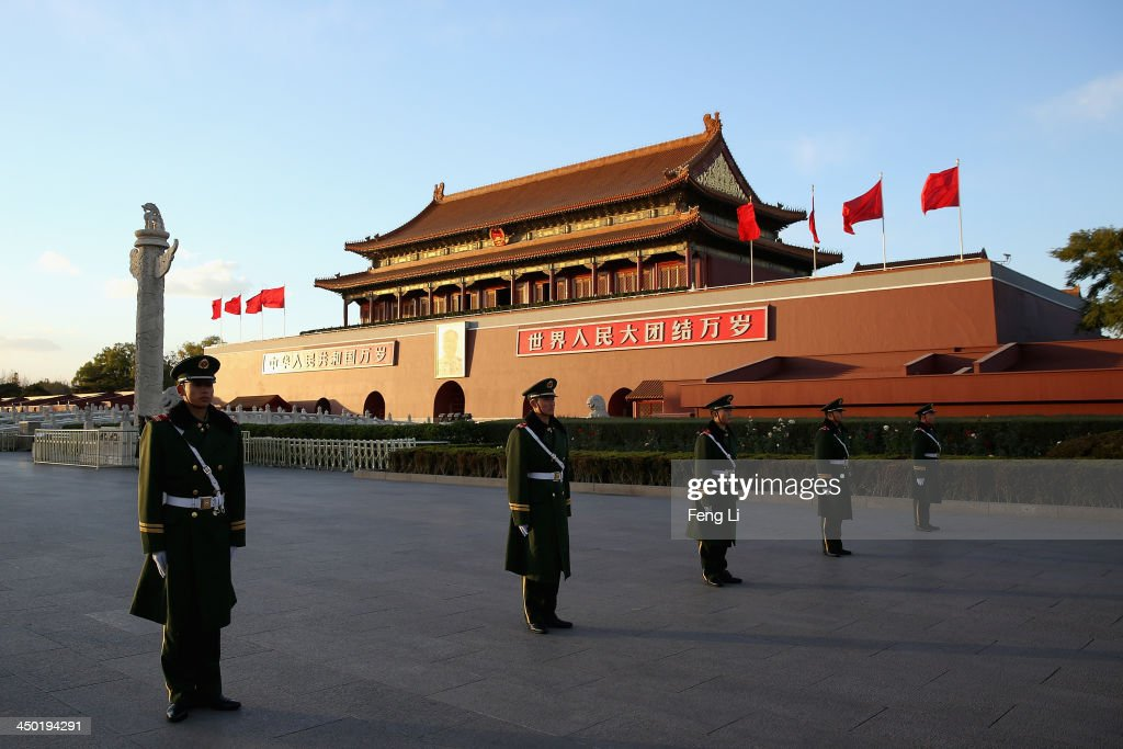 Paramilitary policemen guard in front of Tiananmen Gate on November 17, 2013 in Beijing, China. The full text of the Communist Party of China (CPC) Central Committee's decision on major issues concerning comprehensively deepening reforms was issued on Friday. The decision was approved at the Third Plenary Session of the 18th CPC Central Committee held from November 9 to 12 in Beijing.