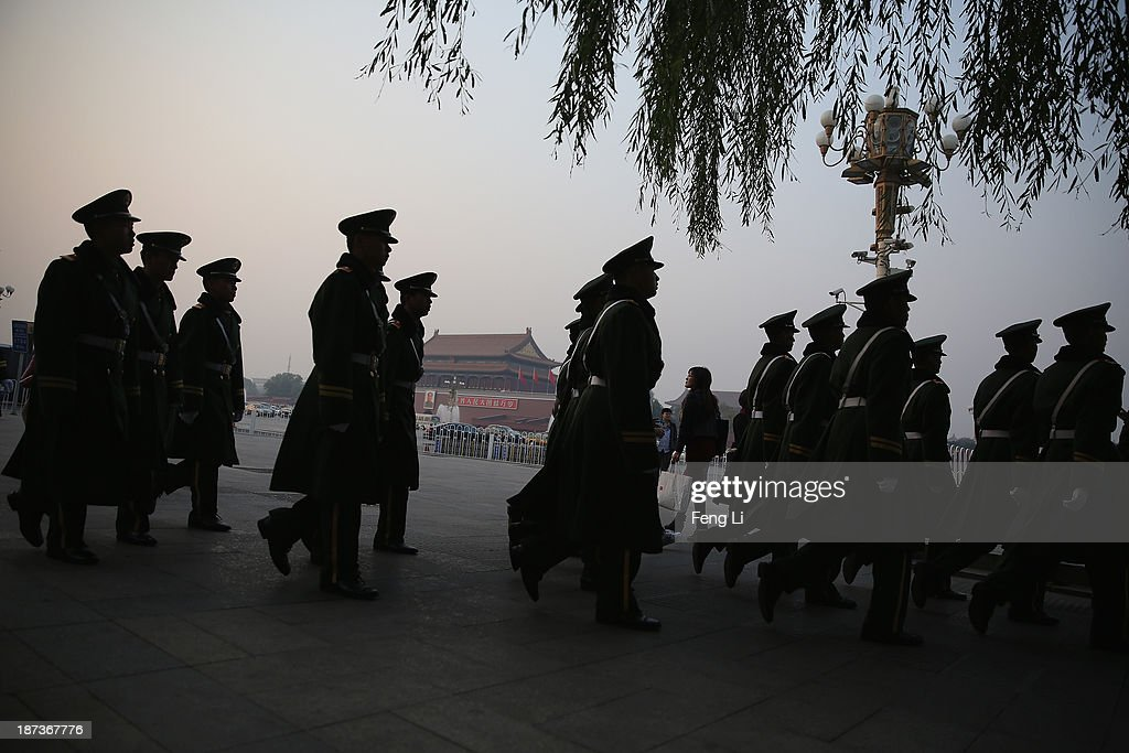 Paramilitary policemen patrol at Tiananmen Square on November 8, 2013 in Beijing, China. The Communist Party of China (CPC) will convene the Third Plenary Session of the 18th CPC Central Committee from November 9 to 12 to discuss comprehensively deepening reforms.