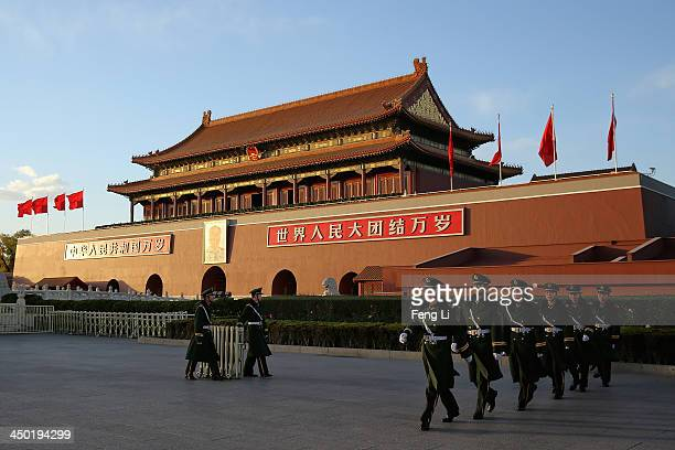 Paramilitary policemen patrol in front of Tiananmen Gate on November 17 2013 in Beijing China The full text of the Communist Party of China Central...