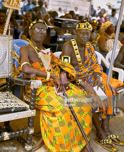 Paramount Chiefs sit in state at a Durbar in Akyem Abuakwa in the Kyebi traditional area of the Eastern Region in Ghana West Africa The royals wear...