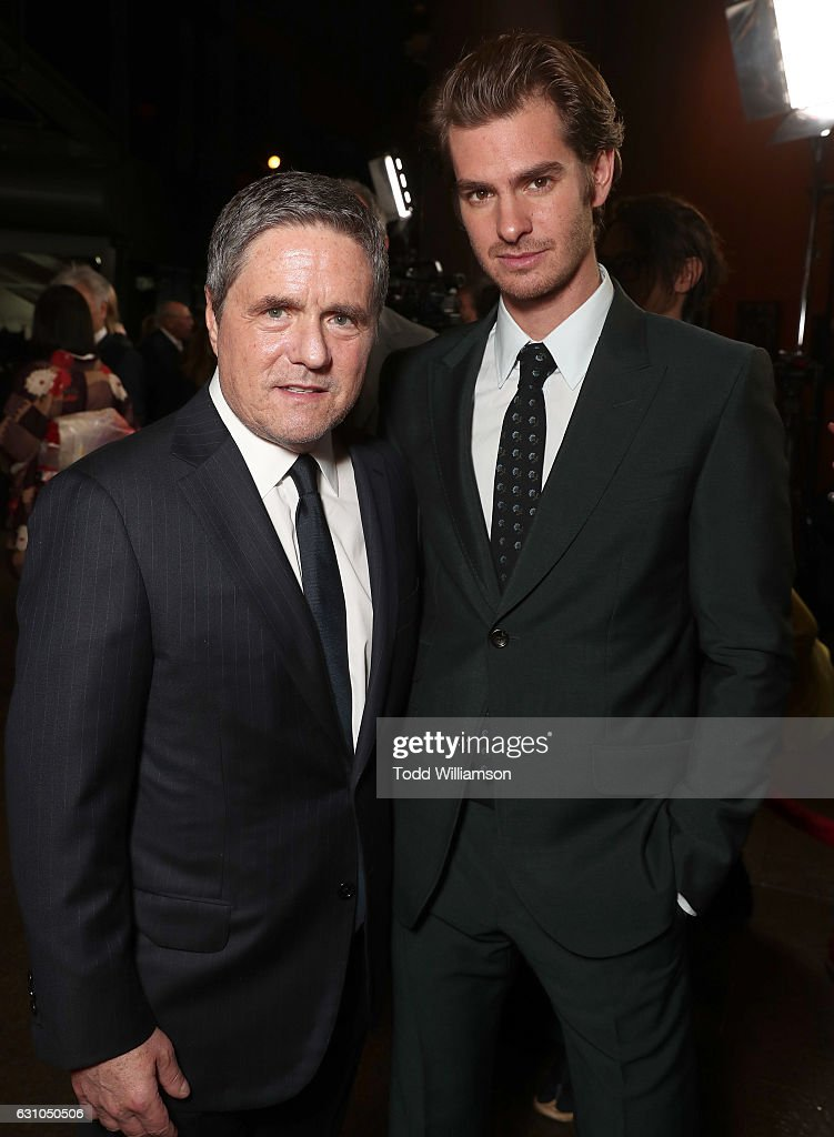 Paramount Pictures CEO Brad Grey and Andrew Garfield attend the premiere of Paramount Pictures' 'Silence' at the Directors Guild Of America on January 5, 2017 in Los Angeles, California.