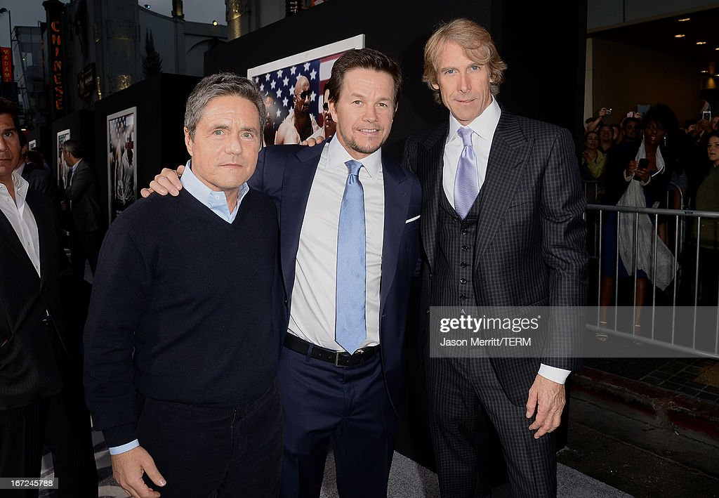 Paramount Pictures Chairman & CEO <a gi-track='captionPersonalityLinkClicked' href=/galleries/search?phrase=Brad+Grey&family=editorial&specificpeople=220255 ng-click='$event.stopPropagation()'>Brad Grey</a>, actor <a gi-track='captionPersonalityLinkClicked' href=/galleries/search?phrase=Mark+Wahlberg&family=editorial&specificpeople=202265 ng-click='$event.stopPropagation()'>Mark Wahlberg</a>, and director/producer <a gi-track='captionPersonalityLinkClicked' href=/galleries/search?phrase=Michael+Bay&family=editorial&specificpeople=240532 ng-click='$event.stopPropagation()'>Michael Bay</a> arrive at the premiere of Paramount Pictures' 'Pain & Gain' at TCL Chinese Theatre on April 22, 2013 in Hollywood, California.