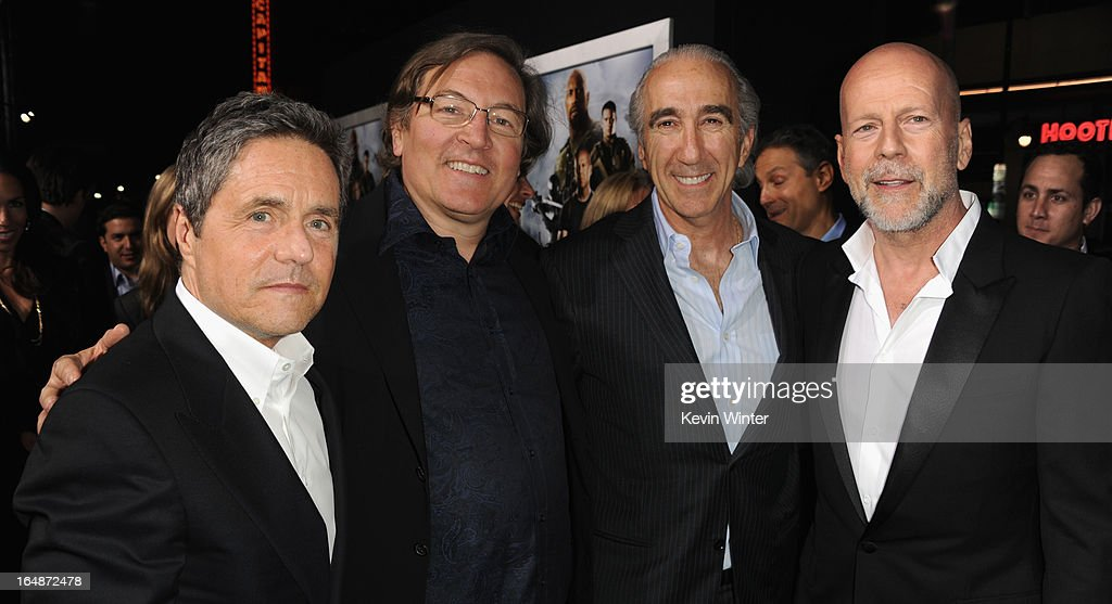 Paramount Pictures Chairman CEO Brad Grey producer Lorenzo di Bonaventura Chairman and CEO of MGM Gary Barber and actor Bruce Willis attend the...
