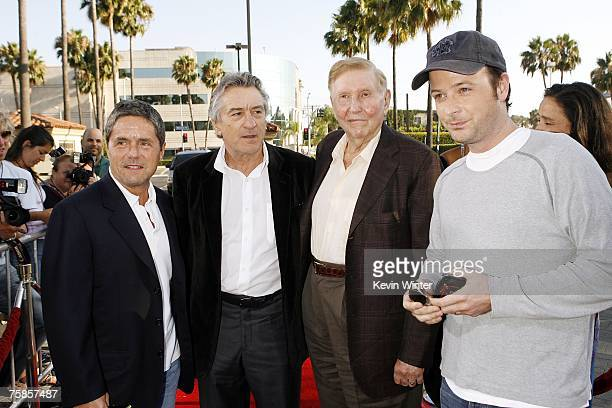 Paramount's Brad Grey actor Robert De Niro and Viacom's Sumner Redstone pose beside director and producer Matthew Vaughn on arriving at the premiere...