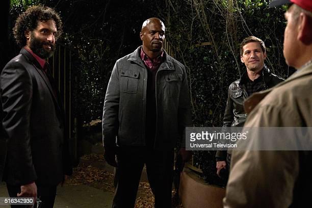 NINE 'Paranoia' Episode 320 Pictured Jason Mantzoukas as Adrian Pimento Terry Crews as Terry Jeffords Andy Samberg as Jake Peralta Dirk Blocker as...