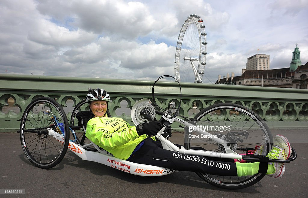 Paraplegic fundraiser Claire Lomas finishes her 400 mile hand bike challenge at the London Eye She has raised over £70000 through Vodafone's...