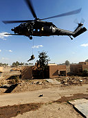 April 10, 2009 - A U.S. Air Force Pararescueman rappels from an HH-60 Pavehawk helicopter during a proficiency exercise outside of Baghdad, Iraq, in support of Operation Iraqi Freedom.