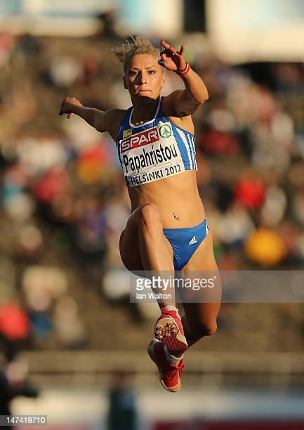 Paraskevi Papahristou of Greece competes in the Women's Triple Jump Final during day three of the 21st European Athletics Championships at the...