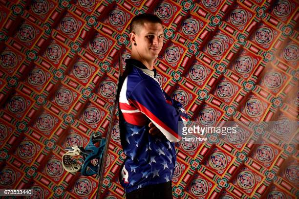 Parasnowboard Evan Strong poses for a portrait during the Team USA PyeongChang 2018 Winter Olympics portraits on April 26 2017 in West Hollywood...
