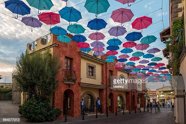 Parasol hanging in Pula Old Town Street Sardegna Italy