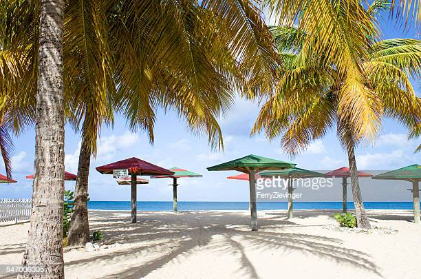 Caribbean sea, Antigua, wooden parasols and palms on beach