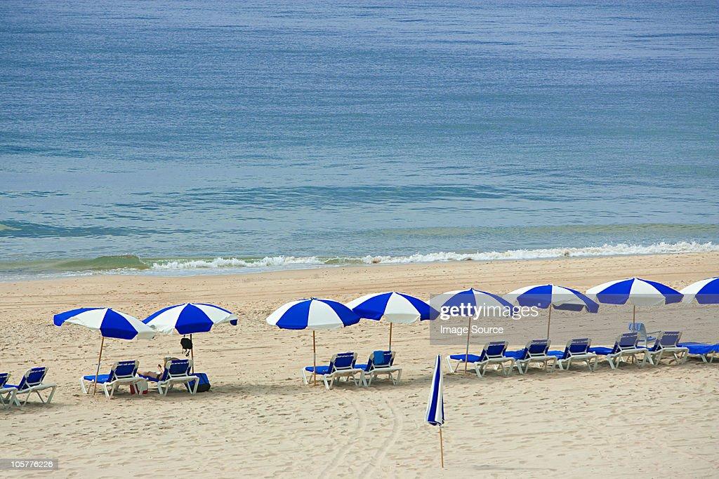 Parasols and sun loungers on beach, Montauk, Long Island