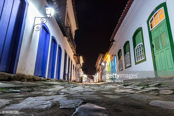 Paraty colorful colonial street at night