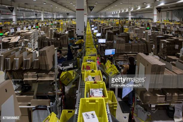 Parcels are processed almost ready for dispatch in the outbound area of the Amazoncom fulfillment centre in Amazoncom MPX5 fulfillment center on...