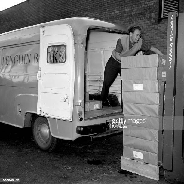 Parcels of paperbacked copies of 'Lady Chatterley's Lover' are seen being loaded into a van at the Harmmondsworth Middlesex factory of Penguin Books