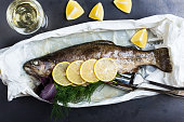 Parchment baked rainbow trout, top view