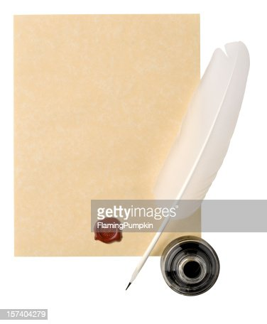 Parchment Paper with White Feather Quill, Wax Seal. Clipping Path