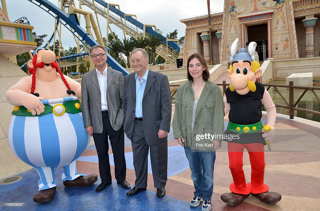 Parcs Asterix CEO Olivier Garaialde, Asterix co-creator/cartoonist Albert Uderzo and Asterix writer Rene Goscinny's daughter Anne Goscinny attend the 'Oziriz' New Game Launch at the Parc Asterix on June 2, 2012 in Paris, France.