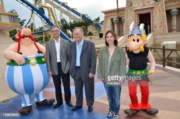 Parcs Asterix CEO Olivier Garaialde Asterix cocreator/cartoonist Albert Uderzo and Asterix writer Rene Goscinny's daughter Anne Goscinny attend the...
