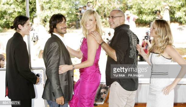 JD Pardo Jose Maria Yazpik Charlize Theron director and writer Guillermo Arriaga and Jennifer Lawrence arriving by boat for a photocall for the film...