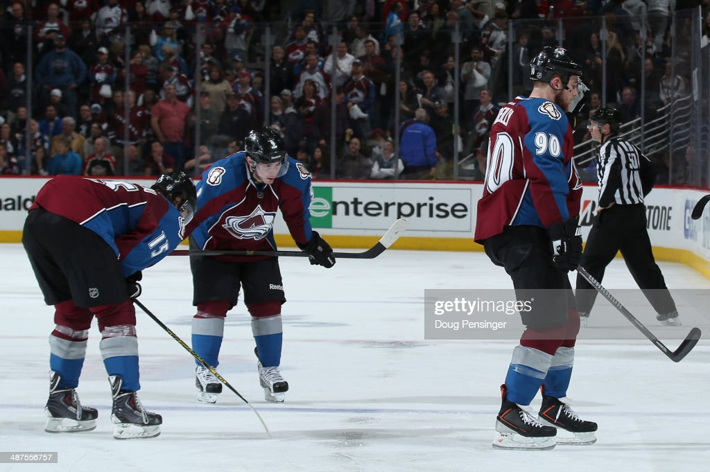 P.A. Parenteau #15, Matt Duchene #9 and Ryan O'Reilly #90 of the Colorado Avalanche skate off the ice after loosing to the Minnesota Wild in overtime of Game Seven of the First Round of the 2014 NHL Stanley Cup Playoffs at Pepsi Center on April 30, 2014 in Denver, Colorado. The Wild defeated the Avalanche 5-4 in overtime to win the series.
