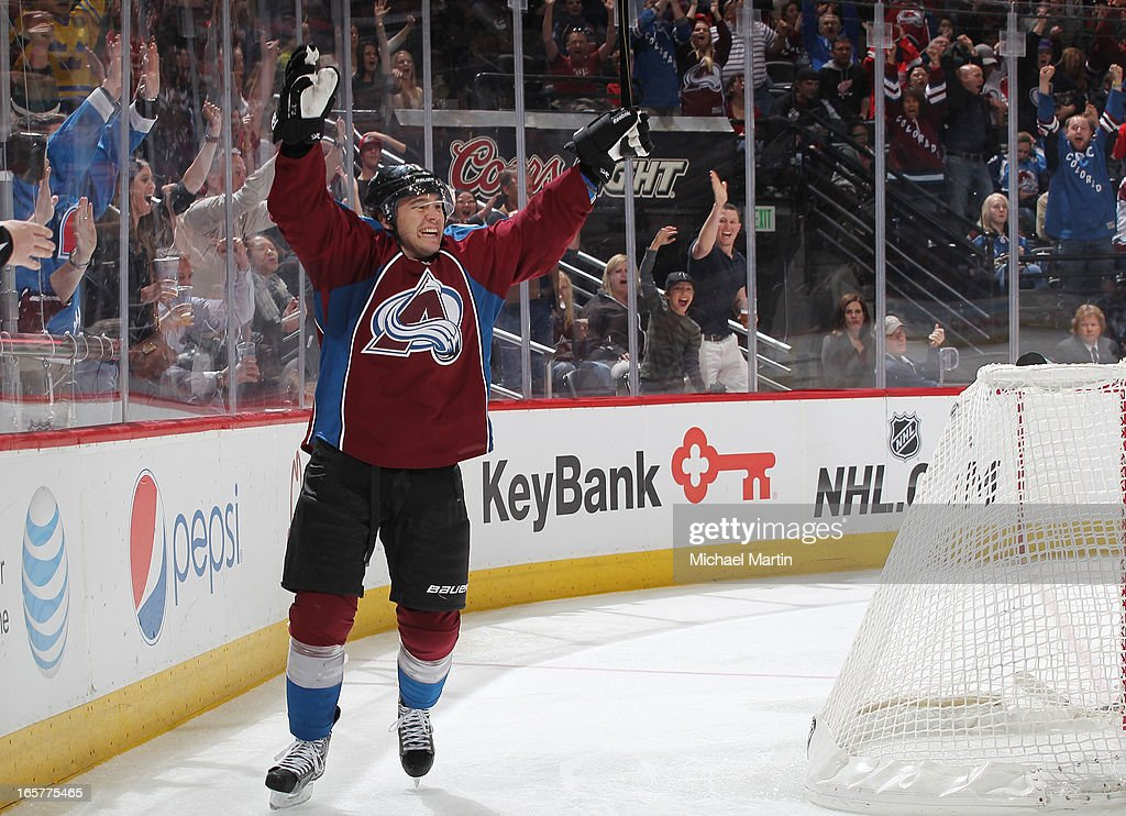 PA Parenteau #15 of the Colorado Avalanche celebrates a goal against the Detroit Red Wings at the Pepsi Center on April 5, 2013 in Denver, Colorado.