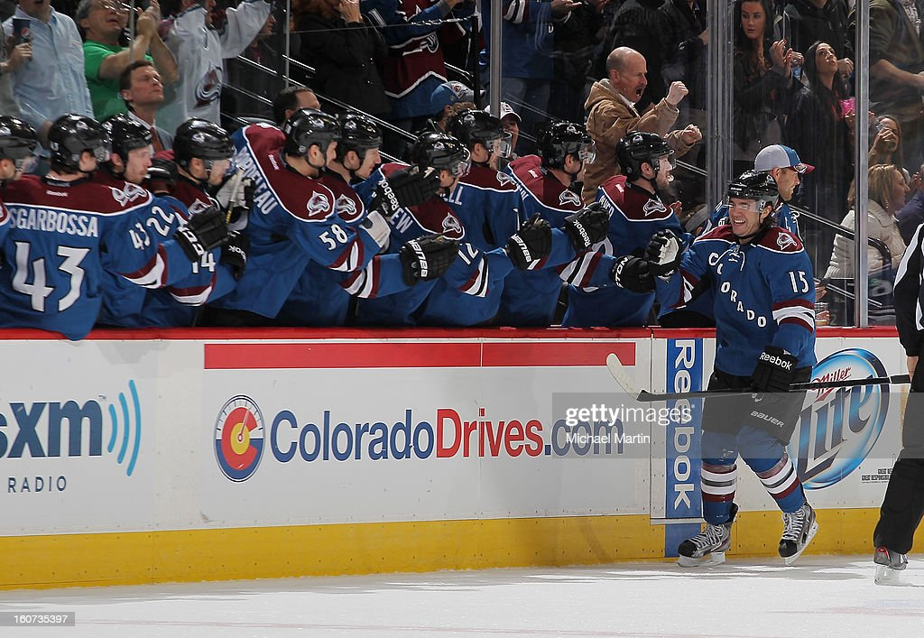 PA Parenteau #15 of the Colorado Avalanche celebrates a goal with teammates against the Dallas Stars at the Pepsi Center on February 4, 2013 in Denver, Colorado.