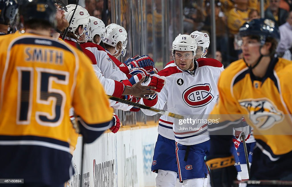 P.A. Parenteau #15 of the Montreal Canadiens celebrates a goal with the bench against the Nashville Predators during an NHL game at Bridgestone Arena on March 24, 2015 in Nashville, Tennessee.