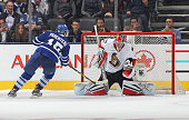 Parenteau of the Toronto Maple Leafs beats Craig Anderson of the Ottawa Senators in the shootout during an NHL game at the Air Canada Centre on...