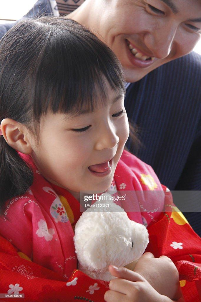 Eltern und Kind in yukata - : Stock-Foto
