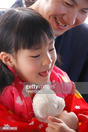 Parents and child in yukata : Stock Photo