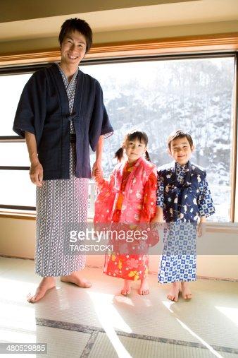 Parents and child in yukata : Stock Photo
