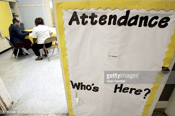 Parents and guardians sit in a classroom at Joseph A Craig Elementary School March 29 2006 in New Orleans Louisiana The Orleans Parish school is...