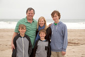Parents and three sons at the beach
