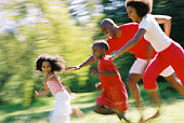 Parents chasing children