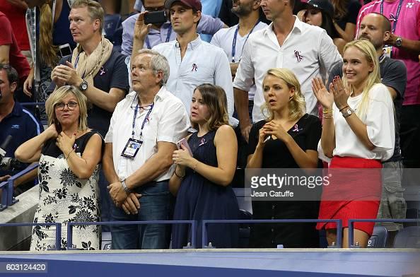 Parents Isabelle Wawrinka and Wolfram Wawrinka sisters Djanaee Wawrinka and Naella Wawrinka girlfriend Donna Vekic of Croatia attend the trophy...