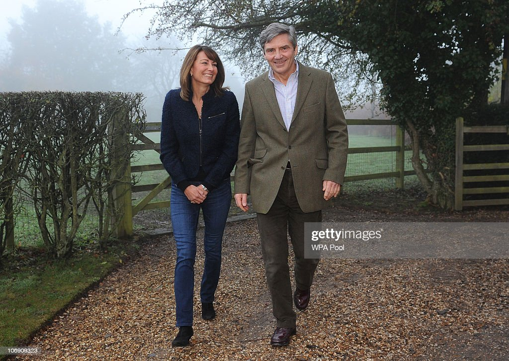 Parents of Kate Middleton, Michael and <a gi-track='captionPersonalityLinkClicked' href=/galleries/search?phrase=Carole+Middleton&family=editorial&specificpeople=4079988 ng-click='$event.stopPropagation()'>Carole Middleton</a>, make a statement following the engagement of their daughter to Prince William, outside their home near the village of Bucklebury on November 16, 2010 in Berkshire, United Kingdom. Prince William, who is second in line to the throne following his father Prince Charles, has been in a relationship with Ms Middleton for the past 8 years. They were engaged in October whilst on a private holiday in Kenya and are due to marry in London in the spring or summer of 2011.