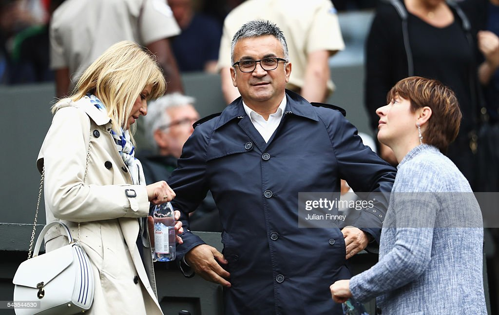 Parents of Novak Djokovic, Dijana Djokovic and Srdjan Djokovic watch on as their son faces Adrian Mannarino of France on centre court on day three of the Wimbledon Lawn Tennis Championships at the All England Lawn Tennis and Croquet Club on June 29, 2016 in London, England.