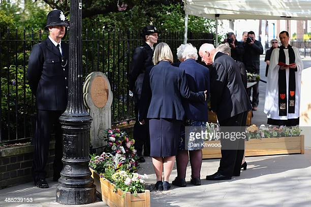 Parents of Yvonne Fletcher Tim Fletcher and Queenie Fletcher lay a wreath during a memorial service for the murdered Police woman Yvonne Fletcher in...