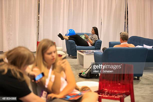 Parents relax at the Kia Parents Lounge while kids explore VidCon at the Anaheim Convention Center July 23rd to 25th in Anaheim Calif on July 23 2015...
