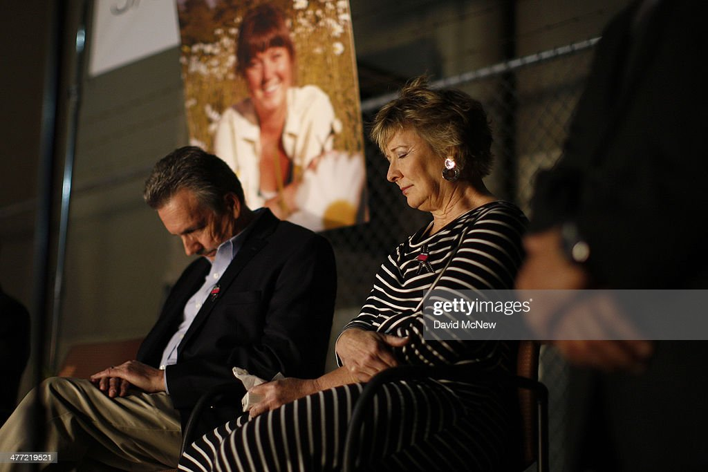 Parents Richard and Elizabeth Jones attend a memorial for their daughter <a gi-track='captionPersonalityLinkClicked' href=/galleries/search?phrase=Sarah+Jones+-+Camera+Operator&family=editorial&specificpeople=12860064 ng-click='$event.stopPropagation()'>Sarah Jones</a>, an assistant camerawoman who was killed by a train while shooting the Gregg Allman biopic film, Midnight Rider, on March 7, 2014 in Los Angeles, California. The remembrance of the 27-year-old camerawoman is organized by members of the International Cinematographers Guild and the production community who want to highlight the importance of safety over a production's schedule or budget. The accident which occurred February 20 on a train trestle over the Altamaha River in Georgia and injured seven other crew members. Production on the film starring William Hurt and directed by Randall Miller has been suspended since the February 20 tragedy.