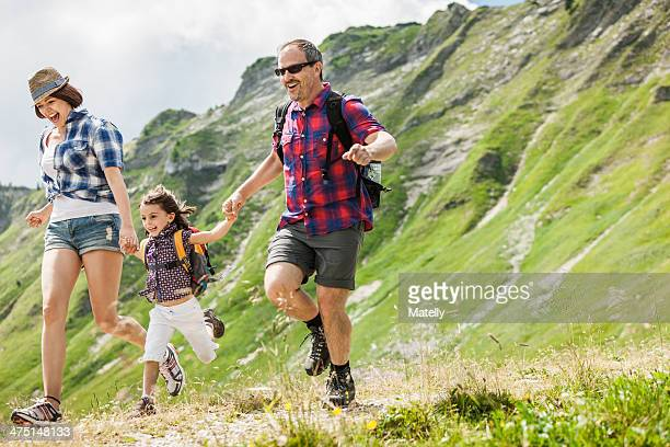 Parents with daughter hiking, Tyrol, Austria