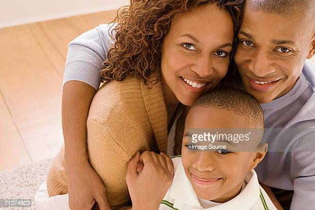 Parents with son in living room